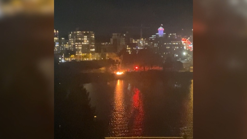 A fire broke out on the seawall near False Creek on Oct. 21, 2020. (Submitted)