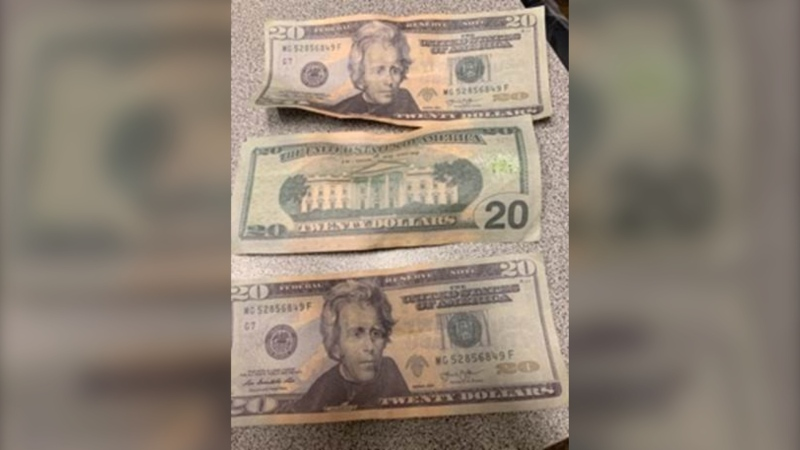 Counterfeit US$20 bills. (Courtesy Chatham-Kent police)