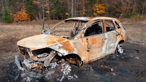 Hunters find Helen Sedo's burned-out car northeast of Huntsville on Oct. 13, 2020, months after the Aurora woman's disappearance. (Supplied)