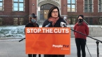 Speaking on Thursday in Regina, NDP candidate Carla Beck said film crews have left the province since the Sask Party axed the credit in 2012. (Saskatchewan NDP Photo)