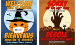 Halloween poster are available on the city's website that residents can post to let children know whether a house is taking part this year. (Supplied)