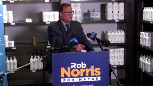 Rob Norris speaks during a campaign appearance at Enviro-Way on Oct. 22, 2020.(Francois Biber/CTV News)