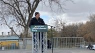 Saskatchewan Party leader Scott Moe addresses supporters at his 'Big Honkin' Rally' on Oct. 22, 2020. (Morgan Campbell/CTV News)