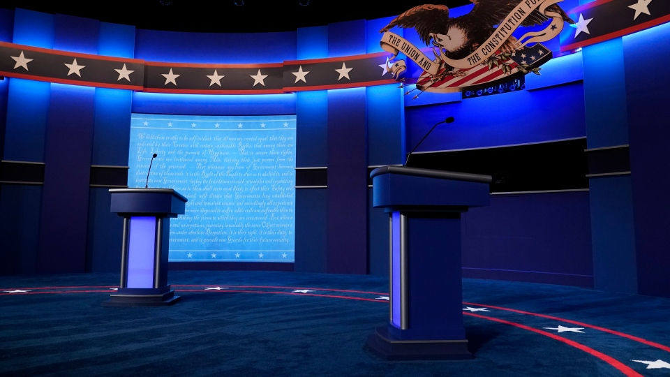 The debate stage is set ahead of the start of the second and final presidential debate Thursday, Oct. 22, 2020, at Belmont University in Nashville, Tenn. (AP Photo/Patrick Semansky)