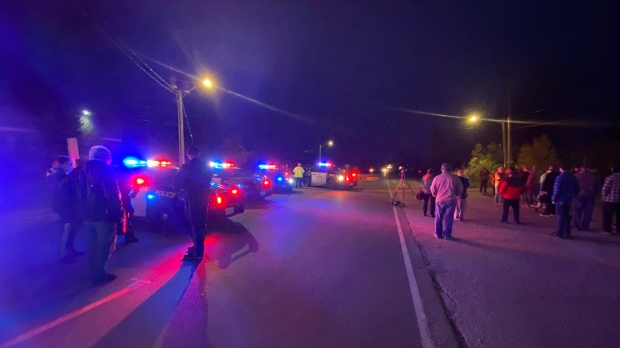 Police officers and demonstrators at a housing dispute site in Caledonia on Oct. 22, 2020 (Terry Kelly / CTV News Kitchener)