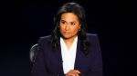 Moderator Kristen Welker of NBC News listens as President Donald Trump and Democratic presidential candidate former Vice President Joe Biden participate in the final presidential debate at Belmont University, Thursday, Oct. 22, 2020, in Nashville, Tenn. (Jim Bourg/Pool via AP)