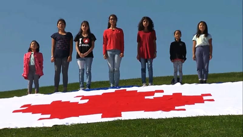 A Calgary woman set a world record by crocheting a massive Canadian flag.