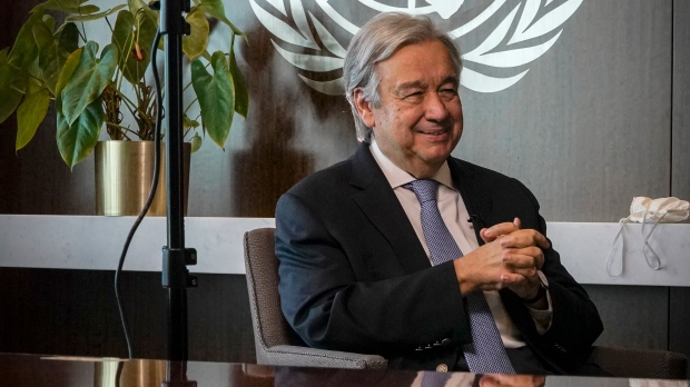 United Nations Secretary-General Antonio Guterres speaks during an interview, Wednesday Oct. 21, 2020, at UN headquarters. (AP Photo/Bebeto Matthews)
