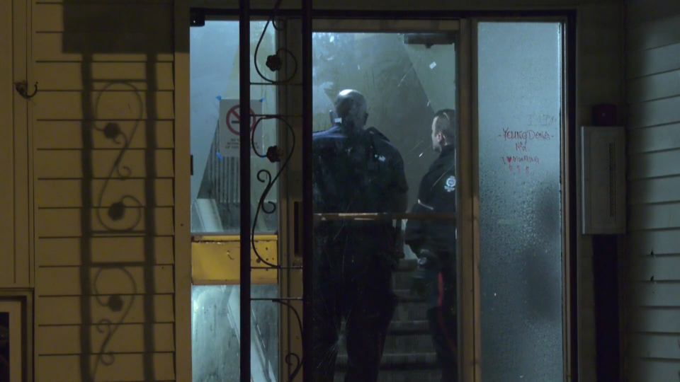 Police inside the Drummond building