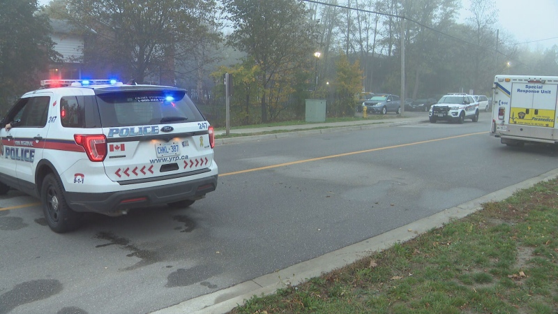 Police investigate a shooting in Toronto's Thornhill neighbourhood on Oct. 23, 2020.