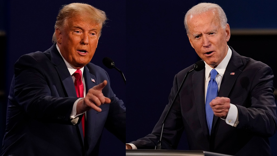 In this composite image, President Donald Trump and former vice president Joe Biden face off during the second and final presidential debate Thursday, Oct. 22, 2020, at Belmont University in Nashville, Tenn. (AP Photo/Patrick Semansky)