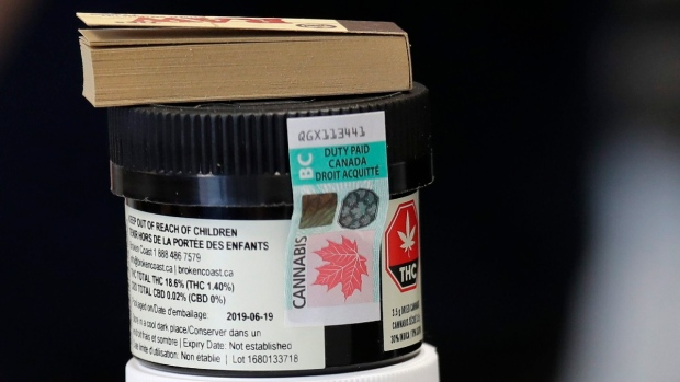 A Canadian cannabis excise stamp covers a container of a marijuana product at Evergreen Cannabis, in Vancouver, B.C., on Oct. 9, 2019. (Elaine Thompson / AP)