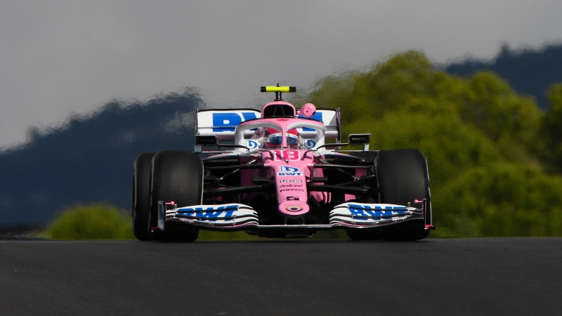 Racing Point driver Lance Stroll of Canada steers his car during the first practice session for the Formula One Portuguese Grand Prix at the Algarve International Circuit in Portimao, Portugal, in this file photo from Oct. 23, 2020. The Formula One Portuguese Grand Prix will take place on May 2. (Rudy Carezzevoli, Pool via AP)