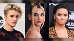 This combination photo shows Justin Bieber, from left, Dua Lipa and Demi Lovato who will take part in various planned events urging Americans to vote. (AP Photo)