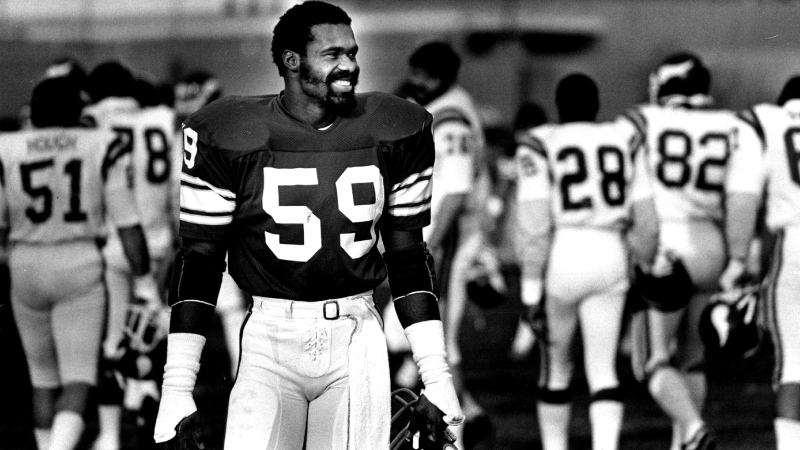 This Nov. 17, 1982 photo shows Minnesota Vikings Matt Blair. Blair, one of the great linebackers in Minnesota Vikings history and a six-time Pro Bowler who played in two Super Bowls, has died. He was 70 years old. Blair, who had been suffering from dementia, died Thursday, Oct. 22, 2020 after an extended period in hospice care, according to the Star Tribune. (Bruce Bisping/Star Tribune via AP)