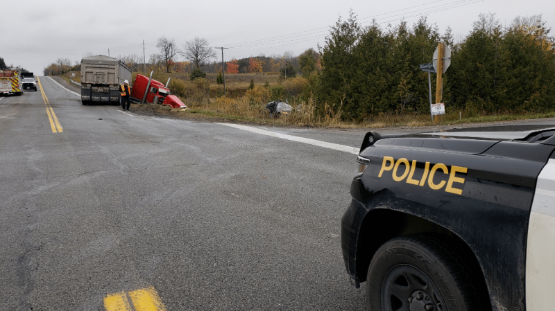 The OPP has roads closed after a collision between a transport truck and a car at the intersection of Charleston Sideroad and Horseshoe Hill Road in Caledon, Ont., on Thurs., Oct. 22, 2020.