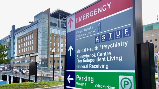 Sunnybrook Hospital is seen in this photograph taken on Oct. 23, 2020. (Craig Berry/CTV News Toronto)