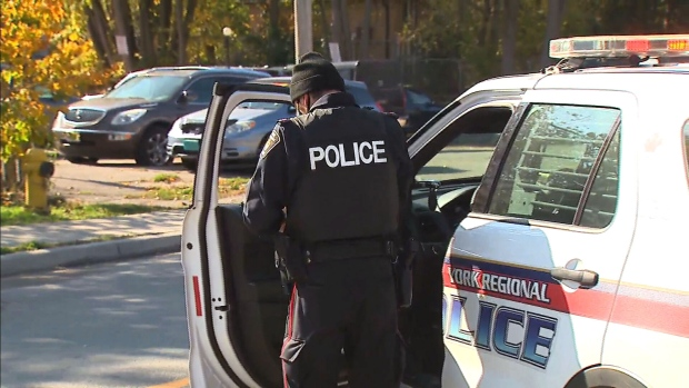 York Regional Police respond to a shooting in Thornhill on Oct. 23, 2020.