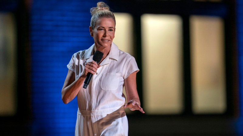 Chelsea Handler during her comedy special 'Chelsea Handler: Evolution,' streaming now. (HBO Max via AP)