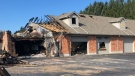 Significant damage after a fire at Lang's Off-Road in Dorchester, Ont. is seen Friday, Oct. 23, 2020. (Jim Knight / CTV News)