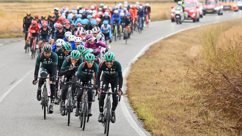 Cyclists pedal during the 19th stage of the Giro d'Italia cycling race, from Morbegno to Asti, Italy, on Oct. 23, 2020. (Fabio Ferrari / LaPresse via AP)