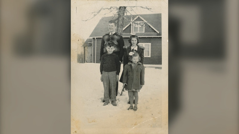 A photo of four children found by Erin Peters in her Winnipeg home during renovations. Peters is looking to find out information about the people in the photo (Supplied image: Erin Peters)