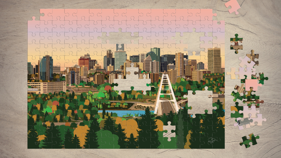 Graphic designer Riyaz Sharan's puzzles feature iconic scenery in and around Edmonton.