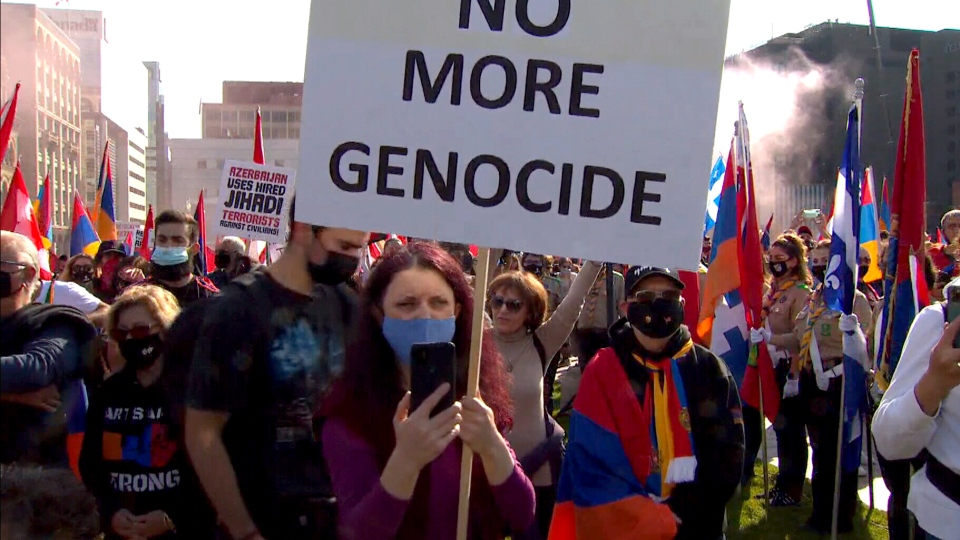 Armenian-Canadians protest in Ottawa after officials decline comment on exports of military technology to Turkey.