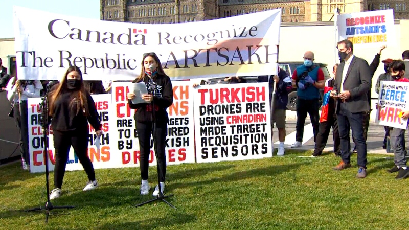 Armenian-Canadians protest in Ottawa after officials decline comment on exports of military technology to Turkey