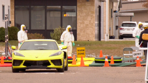 Hazmat responders are pictured at the 300 block of Jessop Avenue on Oct. 23, 2020. (Chad Hills/CTV Saskatoon)