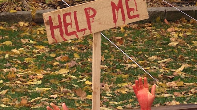 Part of a Halloween display created by Haylee Caldwell and her family in Hensall (Scott Miller / CTV News)