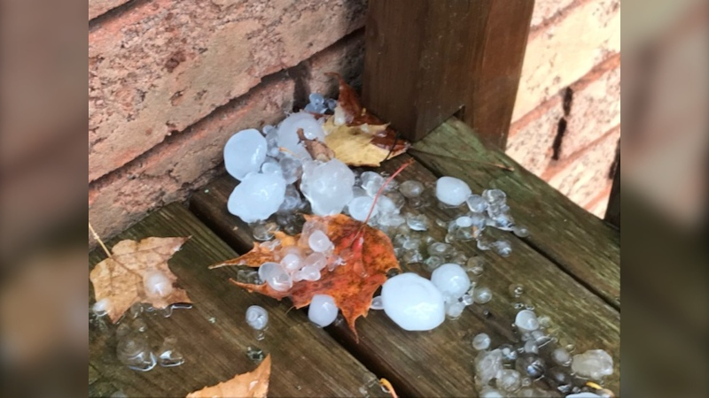 Hail in Midland, Ont., on Fri., Oct. 23, 2020 (Brian Wicks)