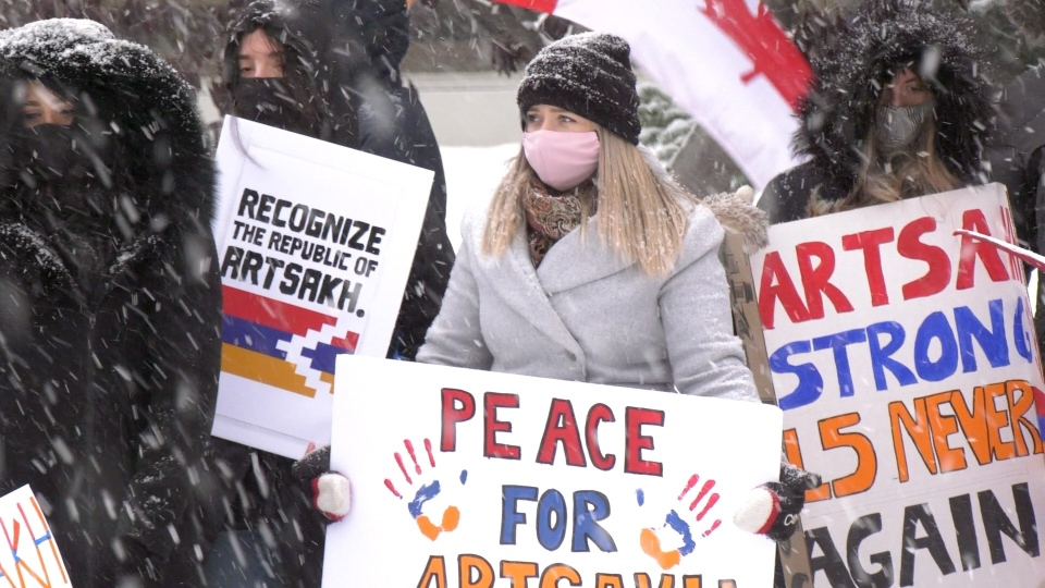Members of Calgary's Armenian community attend a rally outside of the Harry Hays federal building urging the Canadian Government to recognize the Republic of Artsakh.