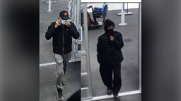 Police are looking to identify these men in relation to three Walmart fires (Supplied: Waterloo Regional Police Service)