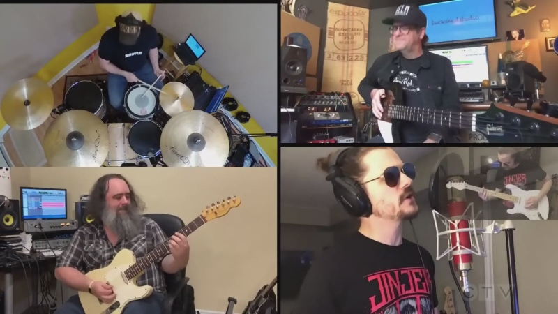 """Shawn Sasyniuk from North Bay, and 3 friends from Sturgeon Falls, Muskoka and Ottawa, gather virtually to cover """"Your Love"""" by The Outfield."""