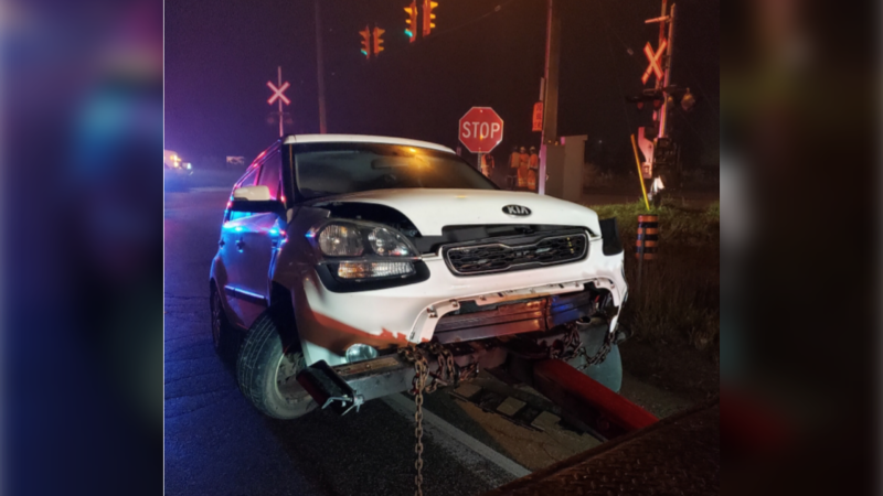 An abandoned 2013 KIA Soul was left on the GO Train track in Innisfil on Fri., Oct. 23, 2020, causing a collision. (South Simcoe Police)