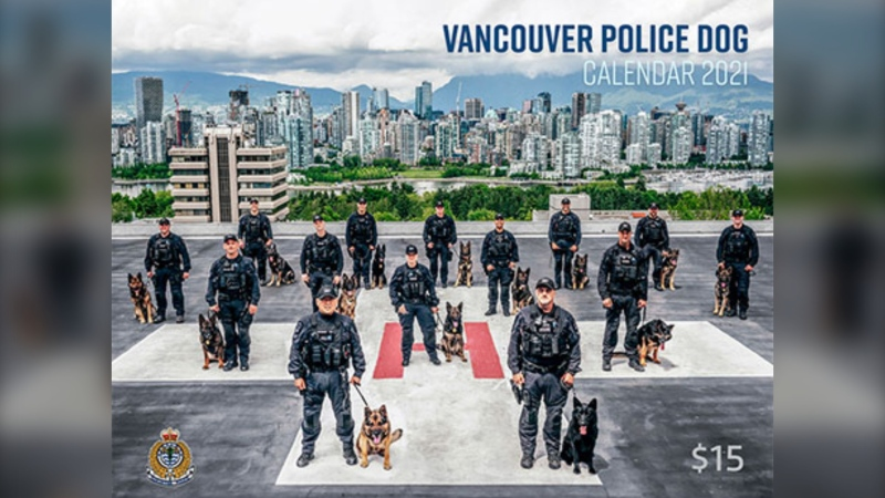 The calendar's cover photo, which shows the full unit of dogs and handlers standing on a helipad with Vancouver's downtown skyline in the background, was taken by Const. Nitish Sharma. (Nitish Sharma/VPD)