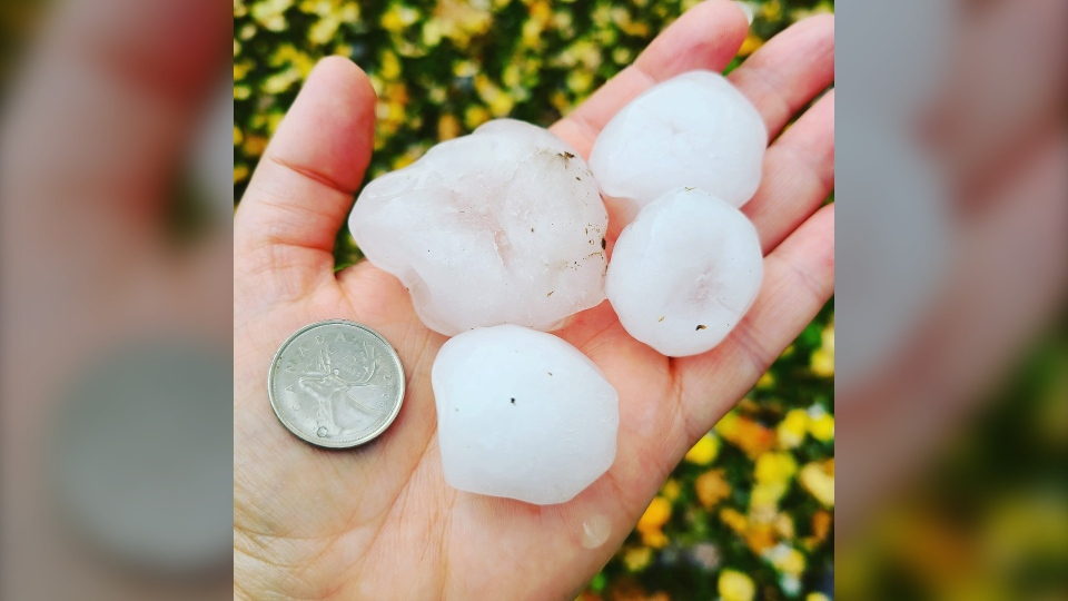 Hail in Victoria Harbour, Ont., on Fri., Oct. 23, 2020 (Photo Cred: Kelli DeGeer)