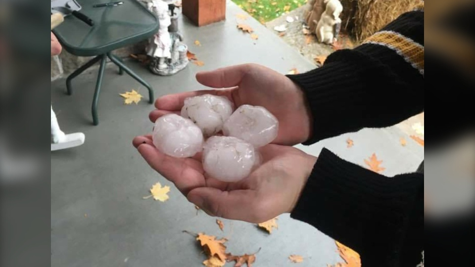 Hail in Midland, Ont., on Fri., Oct. 23, 2020 (Photo Cred: Joshua Gearin)