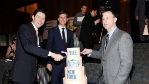 In this March 14, 2013 file photo, New York Observer editor Ken Kurson, right, publisher Jared Kushner, center, and CEO Joseph Meyer, attend The New York Observer's 25th anniversary party at The Four Seasons Restaurant in New York. On Friday, Oct. 23, 2020, federal prosecutors in New York City accused Kurson of sending threatening messages to several people in a pattern of harassment amid his divorce proceedings in 2015. (Photo by Evan Agostini/Invision/AP, File)