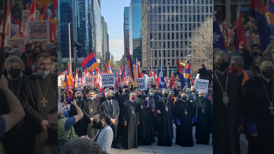 Armenian-Canadian protesters gather in Ottawa, Ont., on Oct. 23, 2020, after Canadian officials declined comment on exports of military technology to Turkey. (Rupen Janbazian)