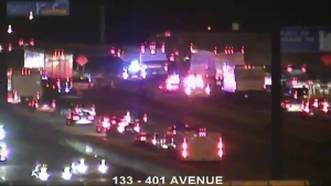 The westbound express lanes of Highway 401 are closed east of Avenue Road after a fatal collision. (MTO)