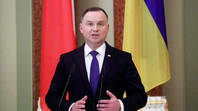 Polish President Andrzej Duda speaks during a joint news briefing with Ukrainian President Volodymyr Zelenskiy as they meet in Kyiv, Ukraine, Monday, Oct. 12, 2020. (Valentyn Ogirenko/Pool via AP)