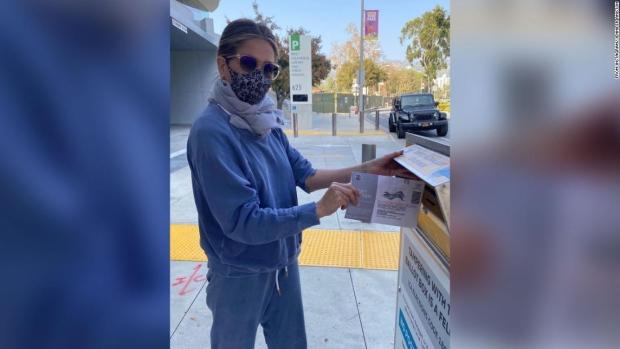 Jennifer Aniston voted by mail this week. (Jennifer Aniston / Instagram / CNN)