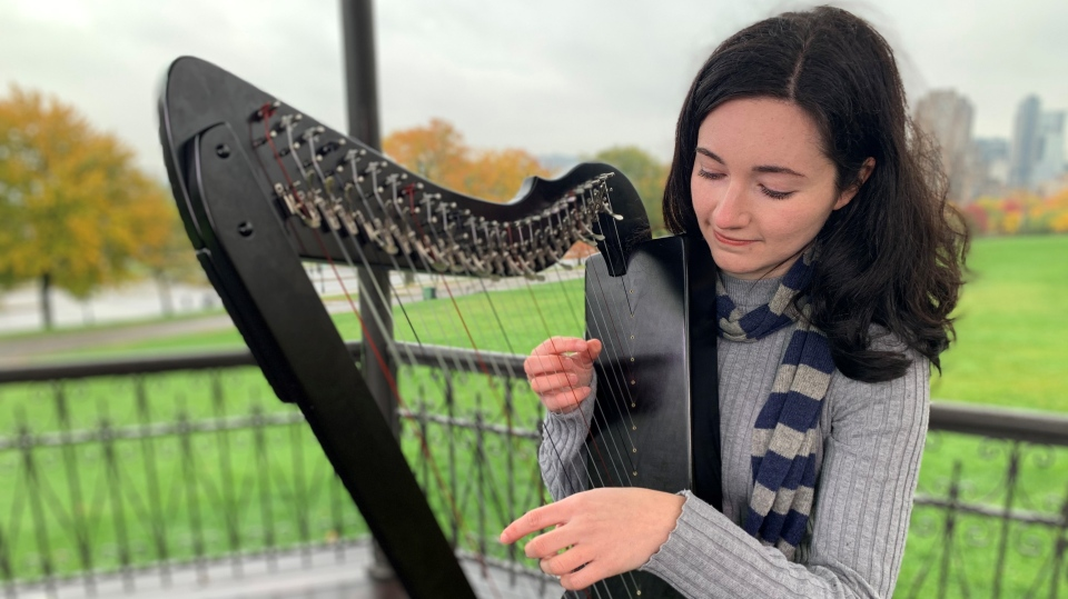 Naomi Silver-Vezina discovered a love for the harp during the COVID-19 pandemic and has become an unlikely YouTube star.