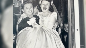 Second World War parachute made into wedding dress