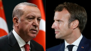 Macron and Erdogan are feuding about maritime rights in the eastern Mediterranean, Libya, Syria and -- most recently -- the escalating conflict in Azerbaijan's Armenian separatist region of Nagorno-Karabakh. (AFP)