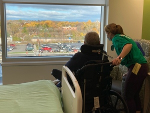 A patient checks out the view in the new Donald B. Green Tower at the Brockville General Hospital. (Nate Vandermeer/CTV News Ottawa)