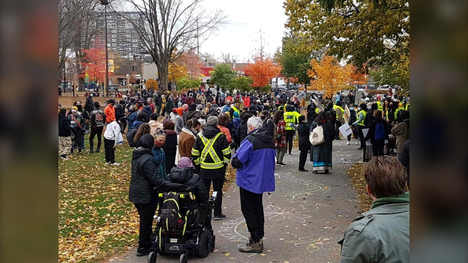 Hundreds of people gathered in an Ottawa park on Saturday to remember Abdirahman Abdi. (Mike Mersereau/CTV News Ottawa)