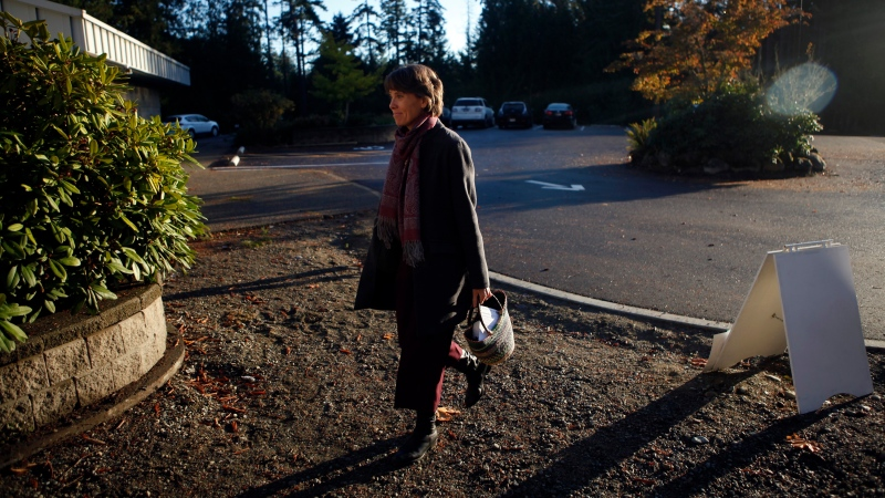 B.C. Green Party Leader Sonia Furstenau arrives at the Shawnigan Lake Community Centre to cast her vote while in Shawnigan Lake, B.C., on Saturday, October 24, 2020. THE CANADIAN PRESS/Chad Hipolito